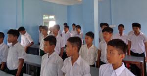 School Boys Taught By David Inside New Building